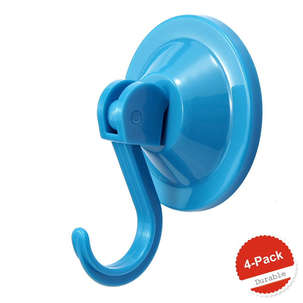 4-Pack Power Lock Suction Cup Hooks,by NL Home? (Blue)