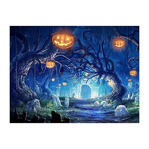 Vktech Halloween Pumpkin 5D Full Round Diamond Painting DIY Needlework Cross Stitch Set 16 x 12 inch