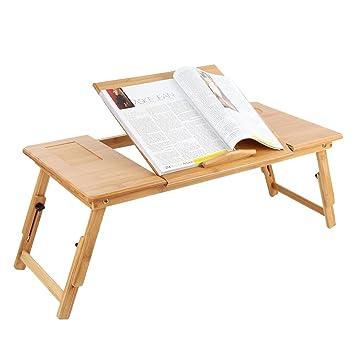 Zipom 100% escritorio plegable y portátil hecho de bambú, mesa y ...