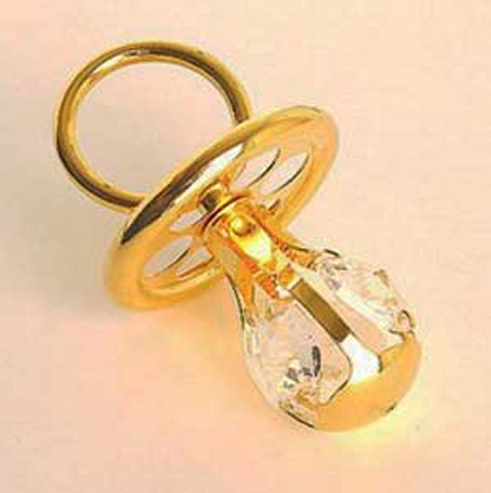 24 K chapado en oro adorno de chupete con cristal de Swarovski ...