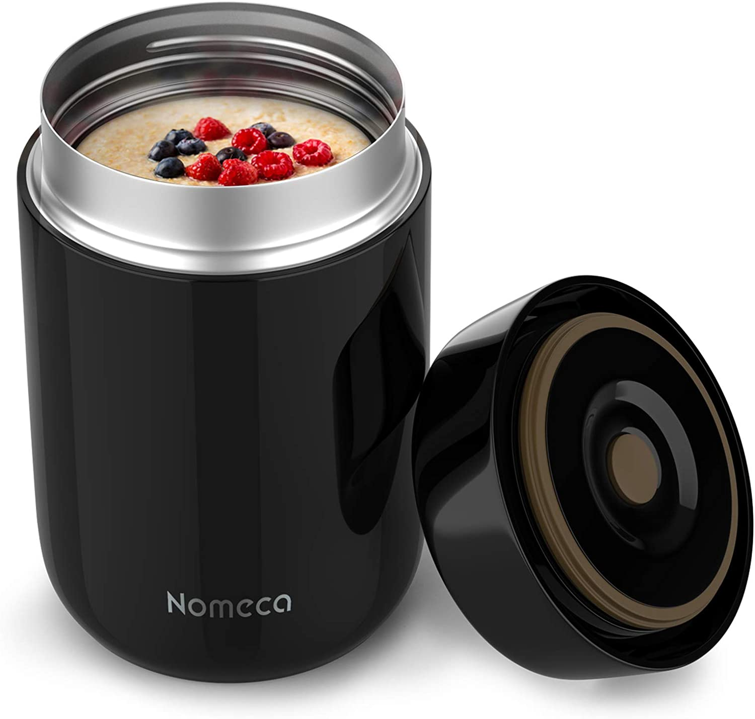 Insulated Food Jar - Nomeca 22Oz Stainless Steel Hot Food Lunch Container to Keep Food Hot Warm Cold for Adult Kids Leak Proof Vacuum Soup Containers Lunch Box for School Office Outdoor Camping, Black
