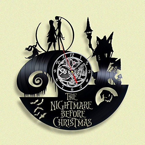 Nightmare before Christmas Vinyl record Wall Clock, Unique Décor for Home or Nursery Room, Gift ideas for kids, children, friends, (The Nightmare Before Christmas Costume Ideas)