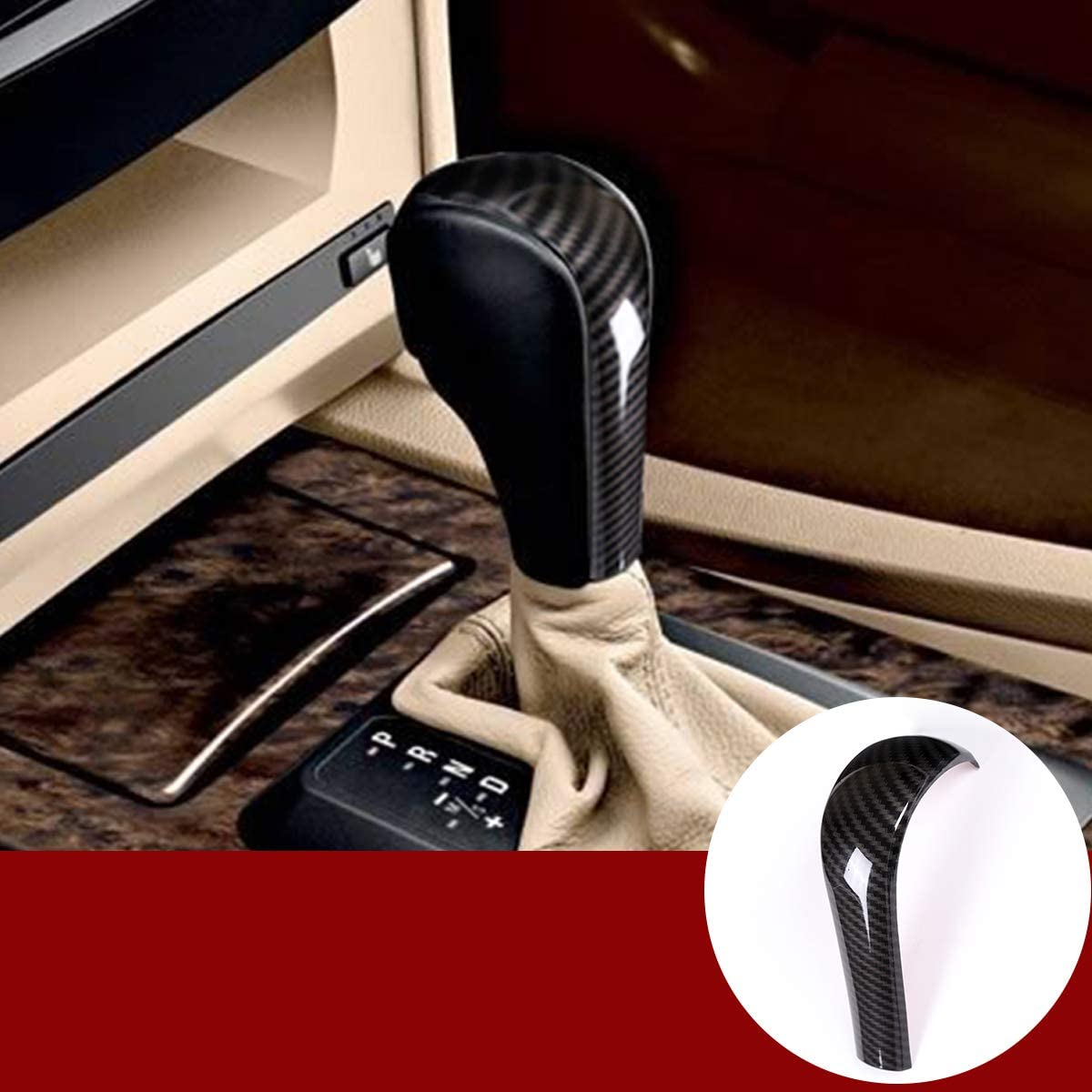 YIWANG cubierta de fibra de carbono para la cabeza de la palanca de cambios central del coche para E39 E60 E61 E83 E53 E46 accesorios de coche (no para E61 Serie 5 Sedán)