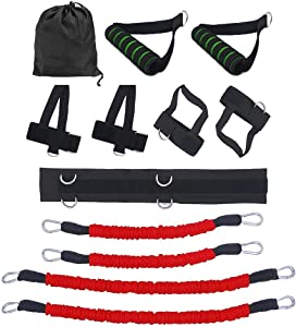 Resistance Bands Stretching Strap Set,Exercises Leg Waist and Arm with 4 Resistance Bands, Adjustable Waist Belt, Ankle Cuff, Bag for Boxing,MMA,Home Gym,Bouncing Strength Training Equipment