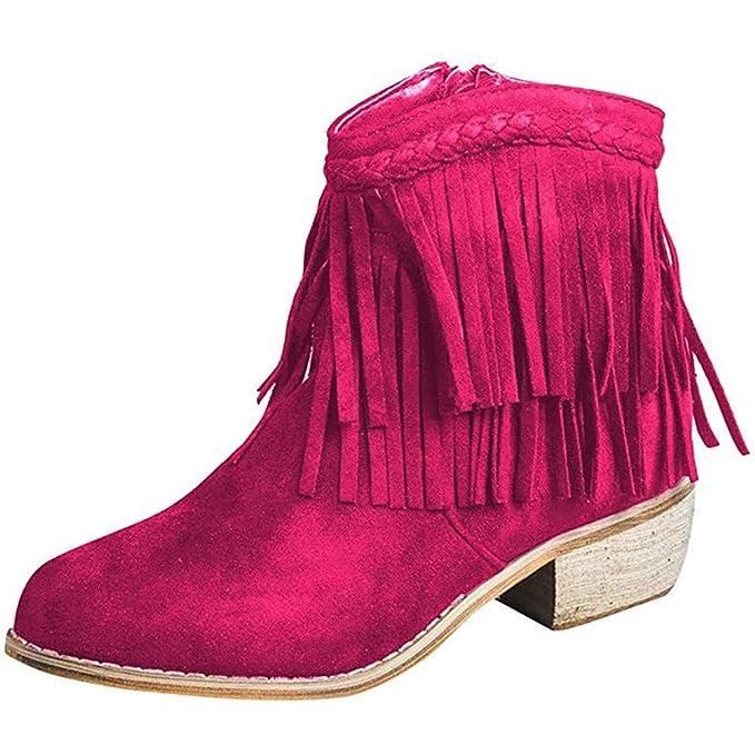 Botines para Mujer Zapatos de tacón Medio con Bloques Gruesos para ...
