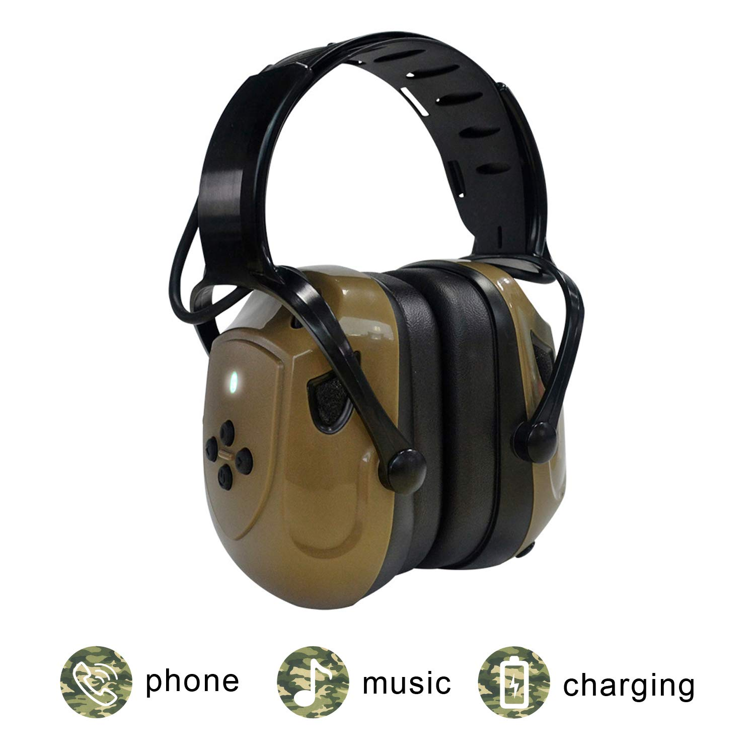 Electronic Shooting Earmuffs, EAREST Rechargeable Bluetooth Ear Muffs Headphone/Sound Amplification Noise Reduction Ear Protection, Ideal for Shooting and Hunting,ArmyGreen by EAREST