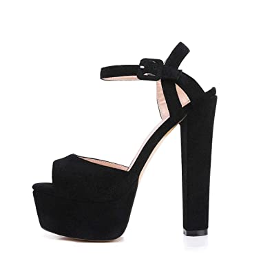 9273f9b4e935 Onlymaker Women s Platform Chunky High Heels Faux Suede Ankle Strap Peep  Toe Sandal Pumps Dress Party