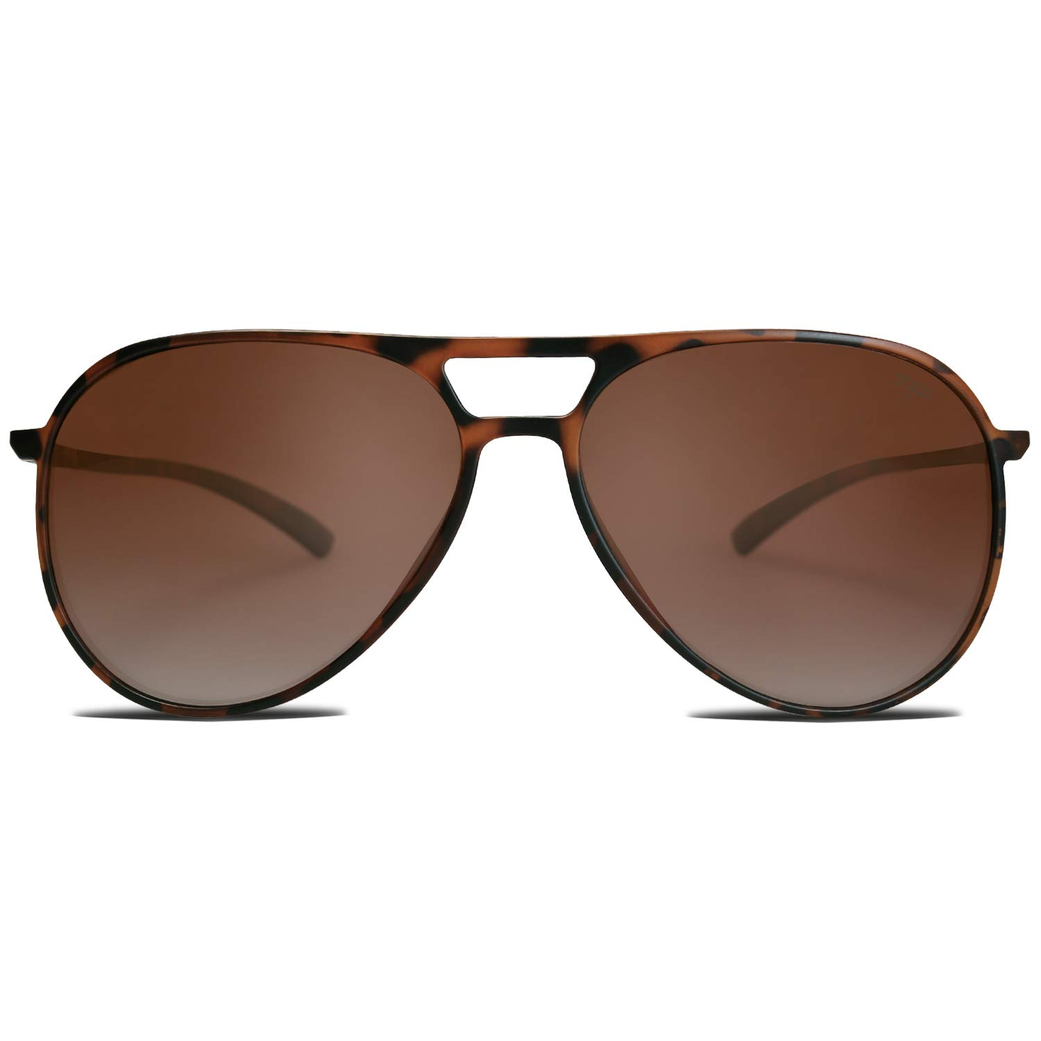 SOJOS Classic Polarized Ultra Lightweight Flexible Aviator Unisex Sunglasses JOURNEY SJ2065 with Matt Brown Demi Frame/Gradient Brown Lens by SOJOS