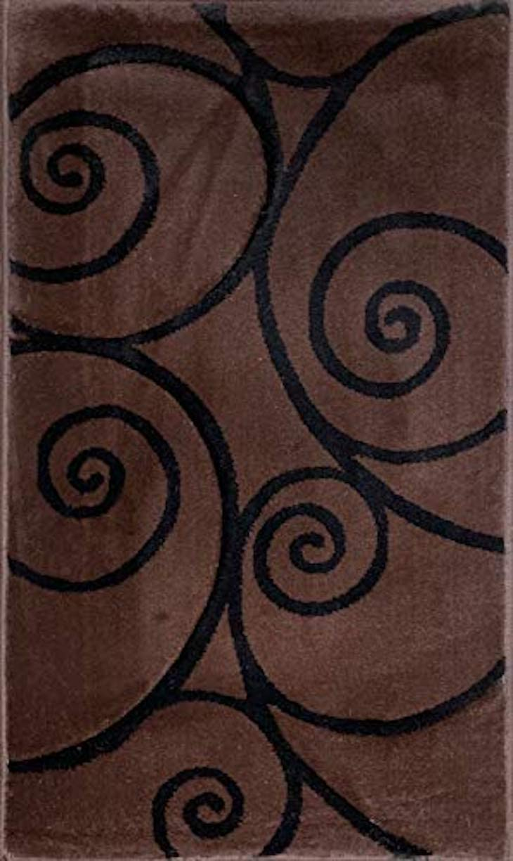 Contempo Modern Area Rug Dark Brown Black Contemporary Abstract 400,000 Point Carved Carpet King Design 316 8 Feet X 10 Feet 6 Inch