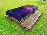 Ambesonne Outer Space Outdoor Tablecloth, Spiritual Dim Star Clusters Milky Way Inspired Circle Back with Solar Elements, Decorative Washable Picnic Table Cloth, 58 X 104 inches, Purple Blue