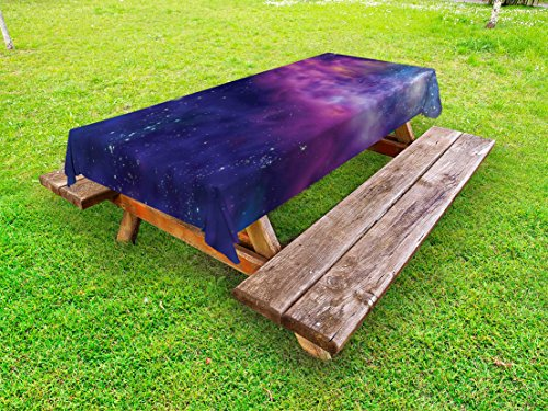 Ambesonne Outer Space Outdoor Tablecloth, Spiritual Dim Star Clusters Milky Way Inspired Circle Back with Solar Elements, Decorative Washable Picnic Table Cloth, 58 X 104 inches, Purple Blue by Ambesonne