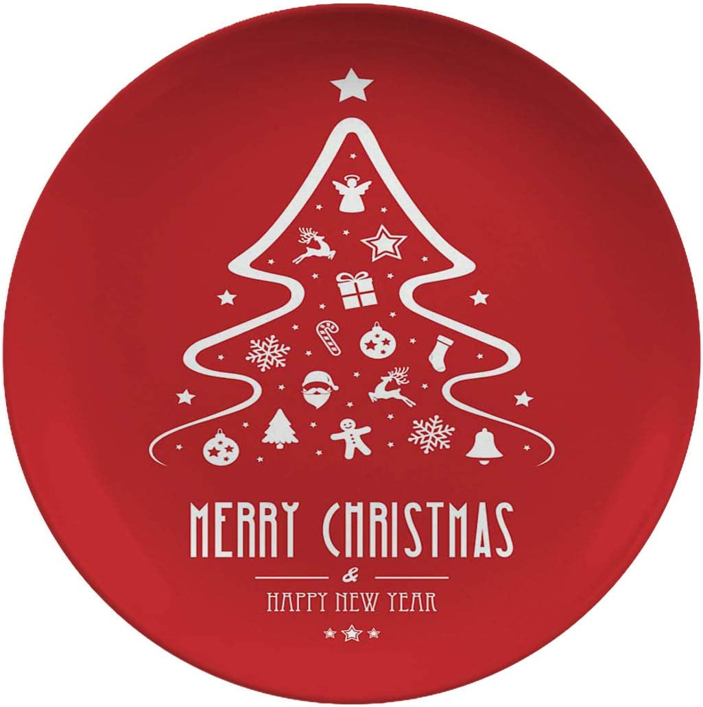 Christmas Art Ceramic Dinner Plates,christmas Tree Elements Red,dinner Plates Set Plate For Home And Kitchen,dinner Dishes,8 Inch