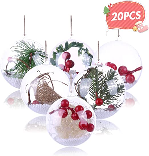 Christmas Glass Balls with glass thread IN Xmas Ornament Party wedding ball x 4