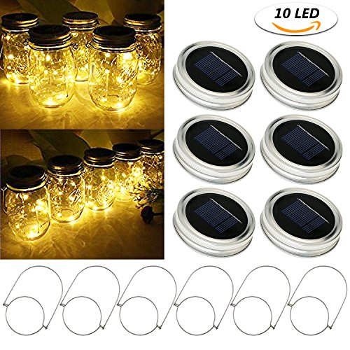 TedGem 6 Pack Solar Mason Jar Lids Lights (6 Handles Included), 10 LED Warm White Jar Hanging Light, Fairy Firefly Lights Lids Insert for Regular Mouth Jars on Patio Decor Wedding Christmas Parties