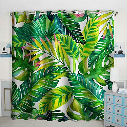 QH Window Curtain Panels Palm Leaves Pattern Blackout Curtain Panels Thermal Insulated & Light Blocking 42W x 84L inch (Set of 2 Panels)