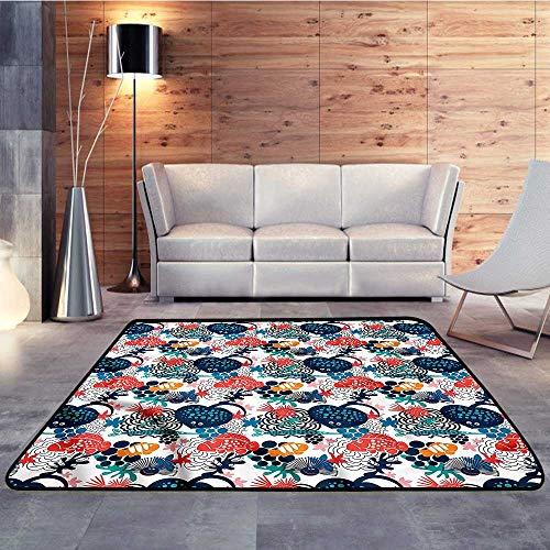 Kitchen Floor mats,Aquarium,Heart Shape Stingray MotifW 78.7