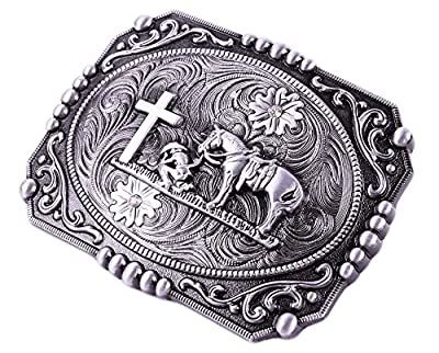 Religion Cross Cowboy And Horse Design Belt Buckles