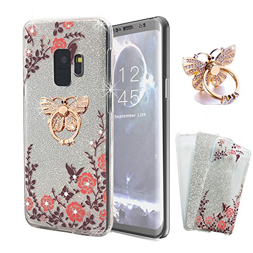 (ZHFLY Galaxy S9 Plus case (Front+Back Gel), Glitter 360 Degree Protective Shockproof 2 in 1 Slim Clear Crystal Soft TPU Rubber Case Bling Diamond Cover, Clear + Butterfly Ring Holder)