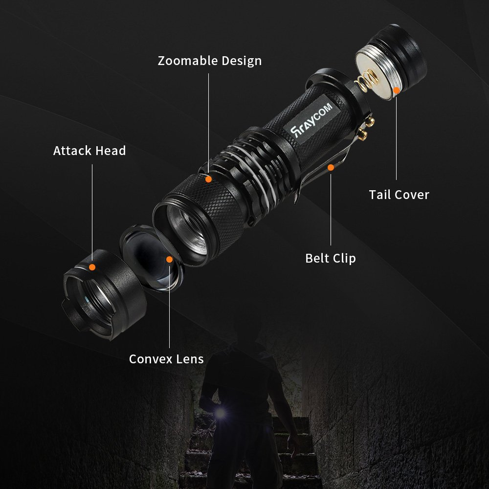 LED Flashlight Tactical Flashlights 2 Pack Rraycom 300 Lumens Mini Zoomable Ultra Bright Handheld Light 3 Modes for Hiking, Hunting, Fishing and Camping