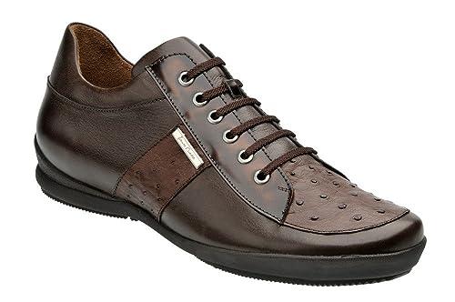 Zapatos De Caballero En Piel De Ternera Y Avestruz Franco Cuadra