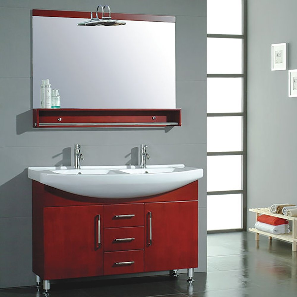 48-inch Red Cherry Wood & Porcelain Counter Top with 2 Sinks Vanity Set- ''Douglas'' (Chrome Faucets) by The Tub Connection