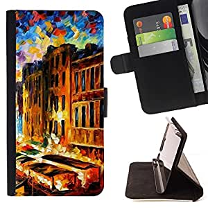 For LG G2 D800 Painting Impressionism Houses Venice Canal Beautiful Print Wallet Leather Case Cover With Credit Card Slots And Stand Function