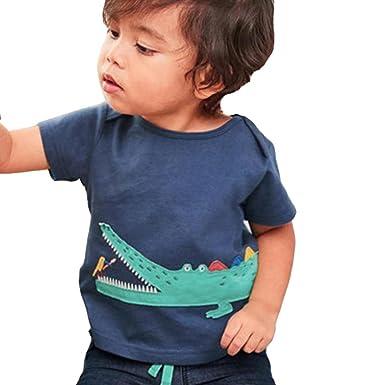95dbe6e515fe9 Vêtements Bebe Ete Oyedens Enfants Garçons Filles T-Shirts Garçon 6 Mois à  4 Ans Hauts Manches Courtes Unisexe Crocodile Tee Shirt Tops Vetement enfant  ...