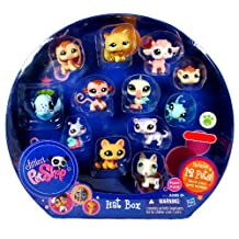 Littlest Pet Shop Exclusive Collectible 12 Pack Bobble Head Pets Figure Set - Hat Box with Brown Beagle Puppy (#1664), White Bull Terrier Puppy (#1665), White Lilac Ferret (#1666), Green Gecko (#1667), Brown Guinea Pig (#1668), Orange Kitty Cat (#1669), Pink Baby Lamb (#1670), Brown Baby Monkey (#1671), White Blue Pelican (#1672), Caramel Persian Cat (#1673), Colorful (Pink,Green,Blue and Purple) Snail (#1674) and Blue Whale(#1675)