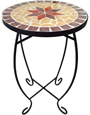 Small round side table, mosaic plant stands, patio, balcony, outdoor, mosaic table, metal garden plant stand.