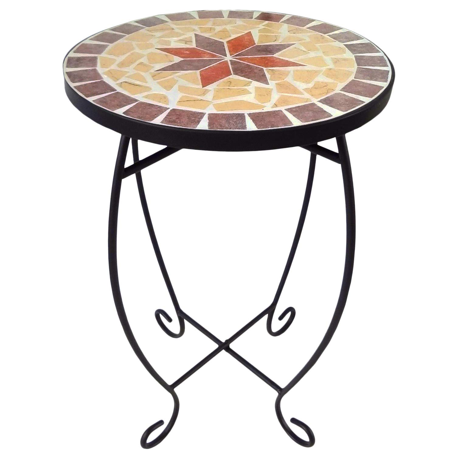 Small Round Side Table Mosaic Plant Stands Patio Balcony Outdoor