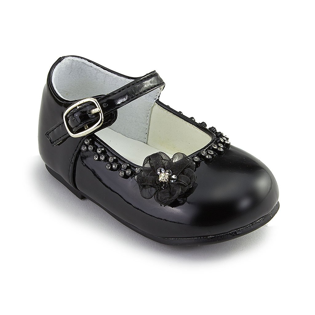 Brianna's Patent Leather Party Shoes with Flower (Black, Toddler 6)