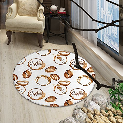 Coffee Round Rugs for Bedroom Conceptual Watercolor Art with Beans and Spilled Java Drops Circular StainsOriental Floor and Carpets Pale Brown White