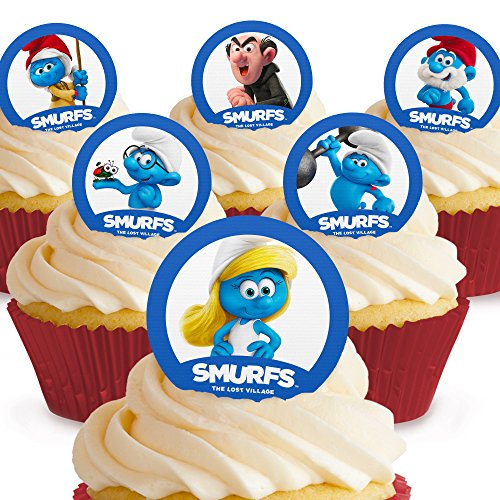 Cakeshop 12 x PRE-CUT Smurfs Edible Cake Toppers