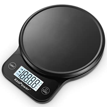 Báscula de cocina digital de 6 kg con plataforma de plástico, peso preciso en gramos, onzas, libras esterlinas, color negro (pilas incluidas): Amazon.es: ...