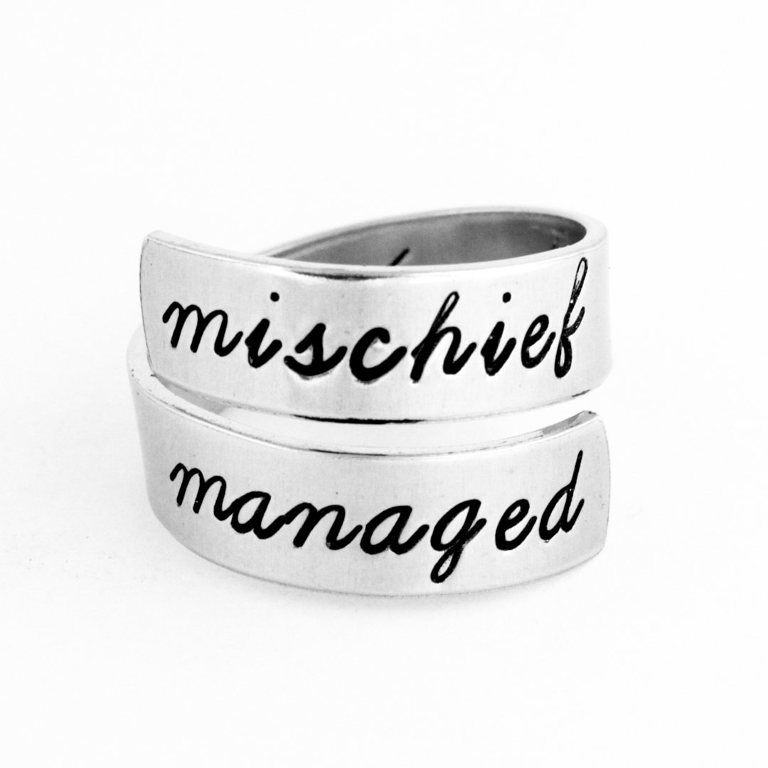 Mischief Managed - Geeky Rings - Adjustable Aluminum Wrap Ring Style C