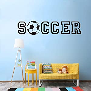 Eutecado Soccer Quotes Wall Stickers, Creative Soccer Letterings with Football Ball Wall Decals for Bedroom, Vinyl Wall Posters for Living Room Nursery