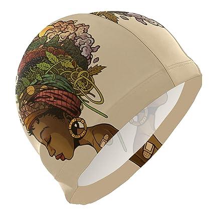 0c90ada77 Amazon.com : zzxtfs Swim Cap Africa Black Women Floral Hair Mens ...