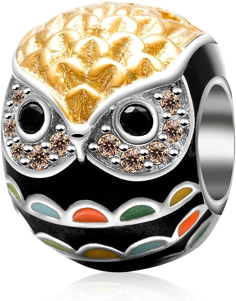 Sunstar Animal de accesorios de plata de ley 925colgante de búho encantos colgantes para pulsera DIY Joyas