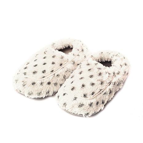 Warmies Cozy felpa Zapatillas de Snow Leopard Fur - Microondas, aroma de lavanda