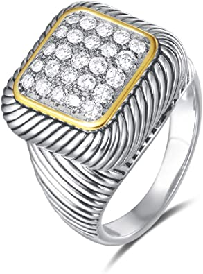 Amazon Com Uny Ring Twisted Cable Wire Designer Inspired Fashion Brand David Vintage Square Pave Cz Antique Women Jewelry Gift Jewelry