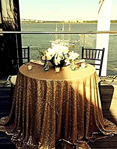 Amazon.com: B-COOL 90'' Round Sequin Tablecloth (Gold ...