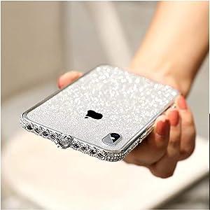 Bling Diamond Metal Bumper Case Glitter Sticker for iPhone X 3D Bling Glitter Sparkly Luxury Rhinestone Jeweled Edge Frame for Woman Girls - Silver