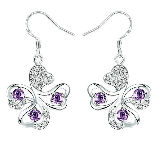 a7288ebcef51 KNSAM - Pendientes Mujer Trébol de 4 Hojas Púrpura Púrpura Cristal Bañado  con Plata 925 Aretes para Novias  Amazon.es  Joyería