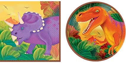 8 ct Prehistoric Dinosaurs Lunch Napkins 16 ct Includes 1 Maze Game Activity Card by ClassicVariety 9 Round Plates and 18 ct Paper Cups Birthday Party Bundle 9oz