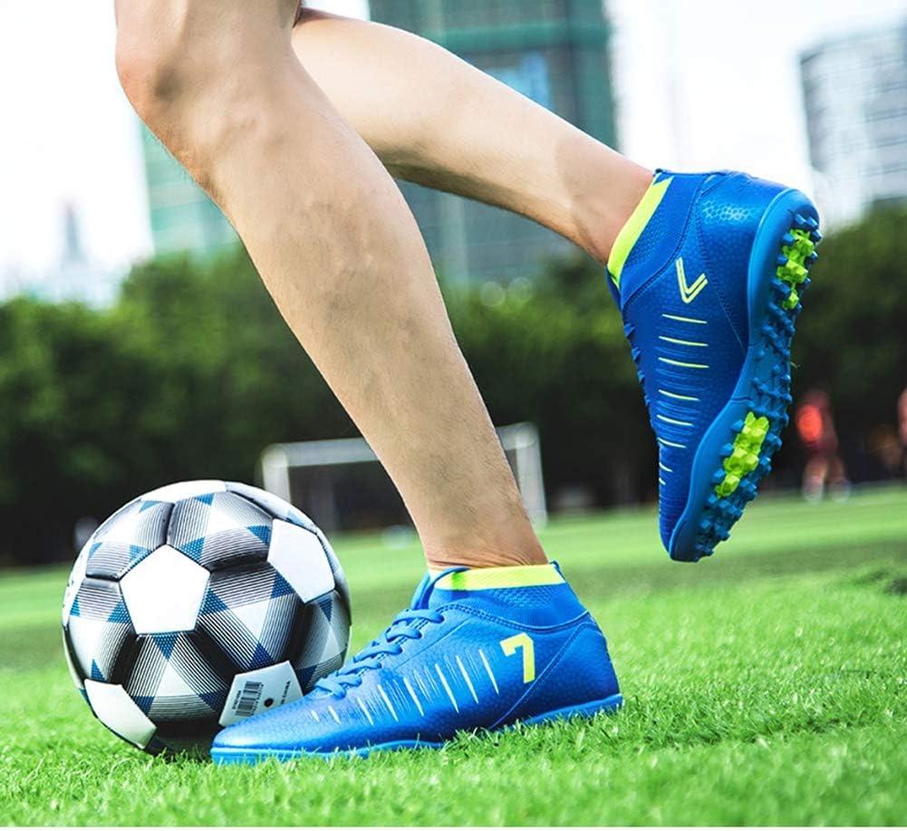 KANGLE Tobilleras Altas Botines de fútbol para Hombres Botas de fútbol Botines y Picos Cortos Zapatos de fútbol para Hombre Zapatillas de Deporte Césped Interior Futsal,Azul,38: Amazon.es: Hogar