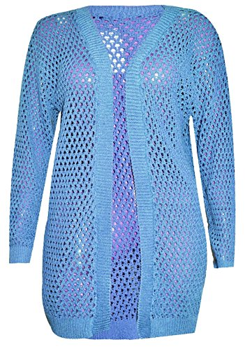 Dames Femmes Fantaisie 3XL Jumper Crochet Holey S Cardigan Islander Fashions Turquoise Longues Manches Tricot Knit fvwn0Sqx