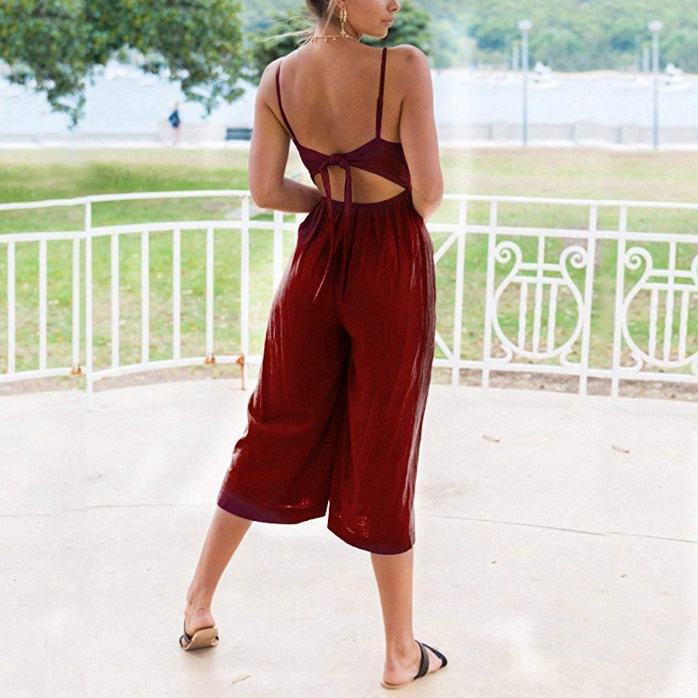 GWshop Ladies Fashion Elegant Jumpsuit Women Jumpsuits Elegant Wide Leg Summer Strappy Soild Button Long Trouser Playsuits Wine S by GWshop (Image #3)