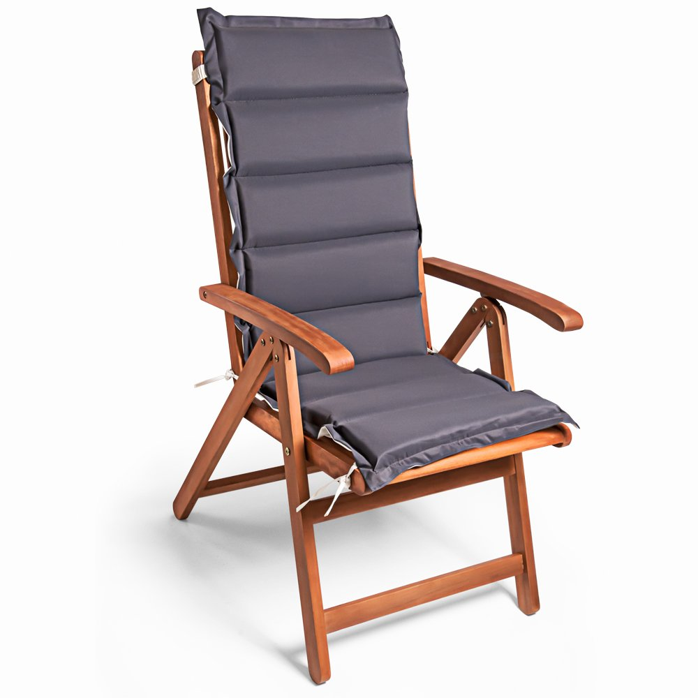 Detex® Stuhlauflage Vanamo 6er Set Wasserabweisend Hochlehner Auflage Sitzauflage Stuhlkissen Polsterauflage Creme Anthrazit