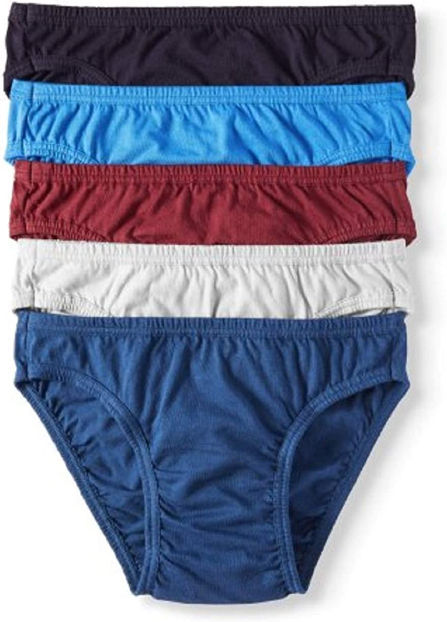 Jockey Life Mens 5-Pack 100/% Cotton Assorted Solid Color Bikinis