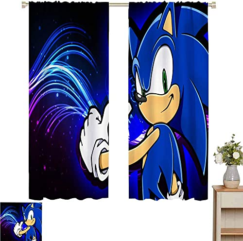 Zmcongz Black Out Window Curtain 2 Panel Sonic Curtains Kids Bedroom Print Patio Door Curtains Living Room Decor Sonic Sonic The Hedgehog Sega Video Games W84 x L84 Inch,Adorable Sonic Lost World
